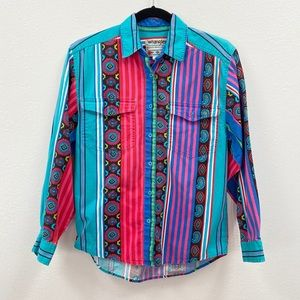 Vintage western wrangler colorful rodeo top small